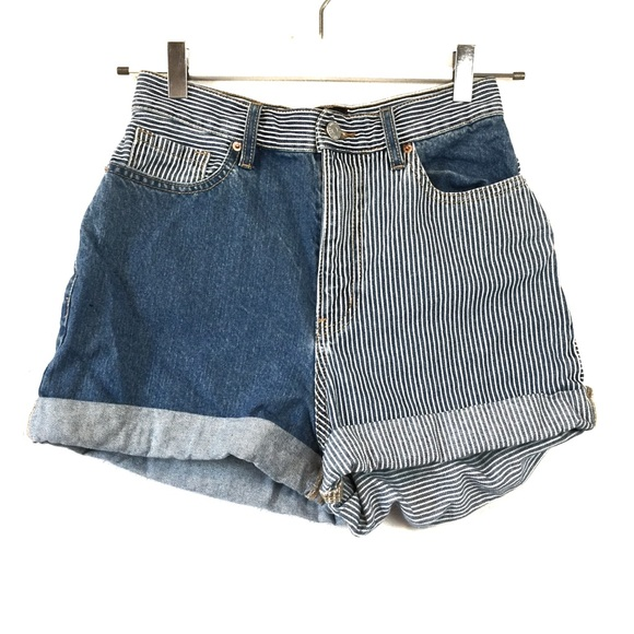 Urban Outfitters Pants - UO BDG Striped Jean High Waist Cuffed Shorts 27
